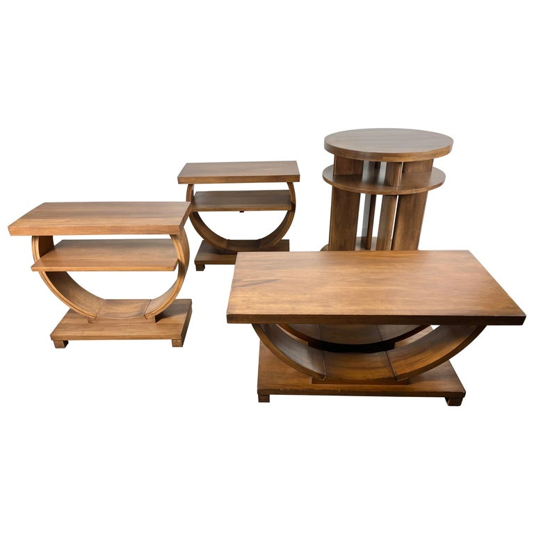 Set of Four Classic Art Deco Tables by Brown Saltman, Coffee, Ends, Lamp Table For Sale