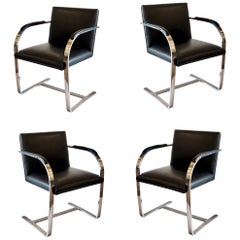Set of Four Classic Brno Style Chairs in Black Leather & Polished Nickel-Plated