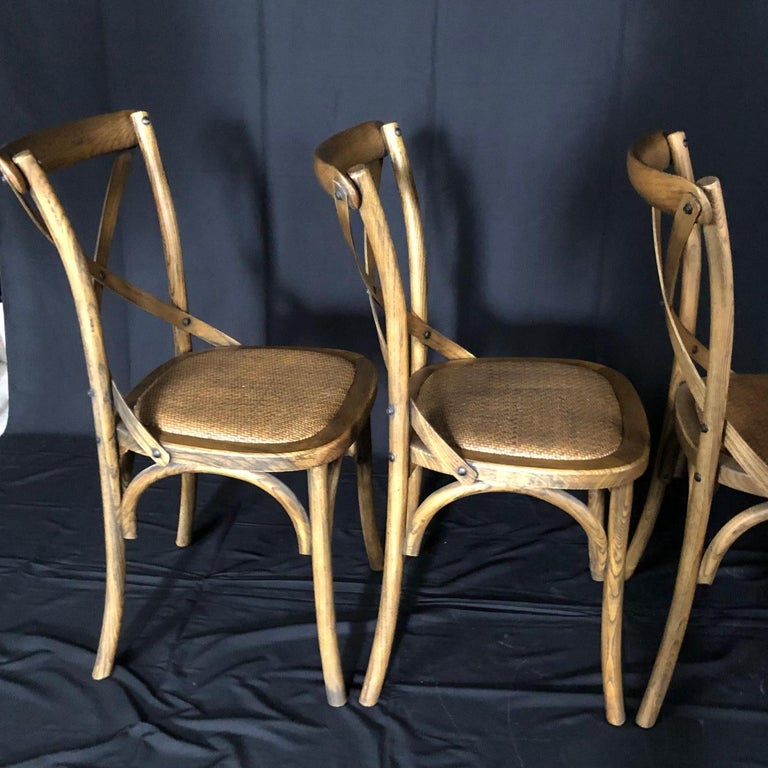 Late 20th Century Set of Four Classic French Bentwood Bistro Chairs with Woven Seats For Sale