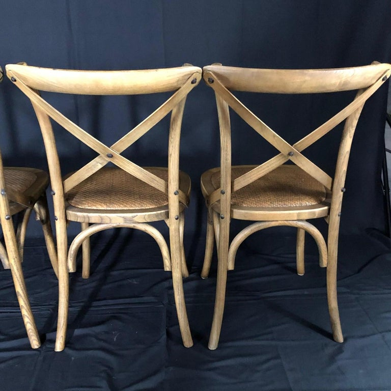 Rattan Set of Four Classic French Bentwood Bistro Chairs with Woven Seats For Sale