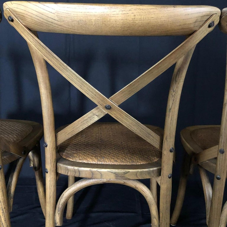 Set of Four Classic French Bentwood Bistro Chairs with Woven Seats For Sale 1