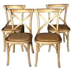 Set of Four Classic French Bentwood Bistro Chairs with Woven Seats