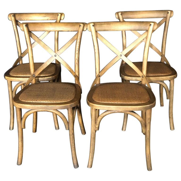 Set of Four Classic French Bentwood Bistro Chairs with Woven Seats For Sale
