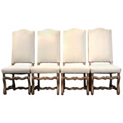 Set of Four Classic French Os de Mouton Walnut Dining Chairs