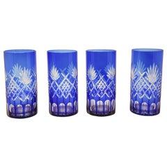 Set of Four Cobalt Blue Cut Crystal Drinking Rock Glasses Tumbler