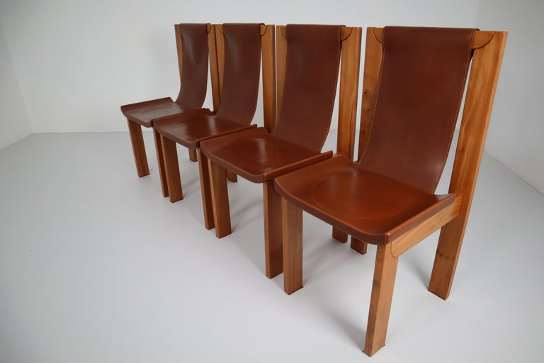 Set of Four Cognac Leather Dining Chairs in Elmwood, France, 1960s For Sale 4