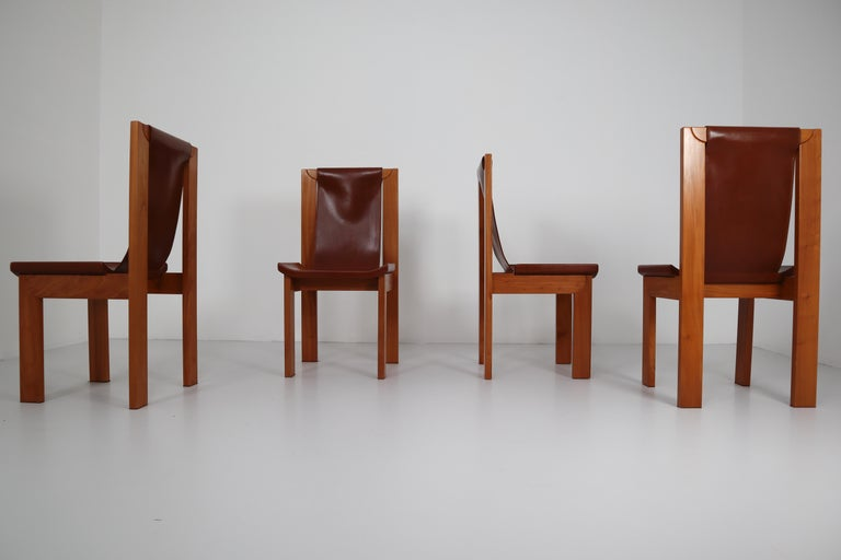Set of Four Cognac Leather Dining Chairs in Elmwood, France, 1960s For Sale 5
