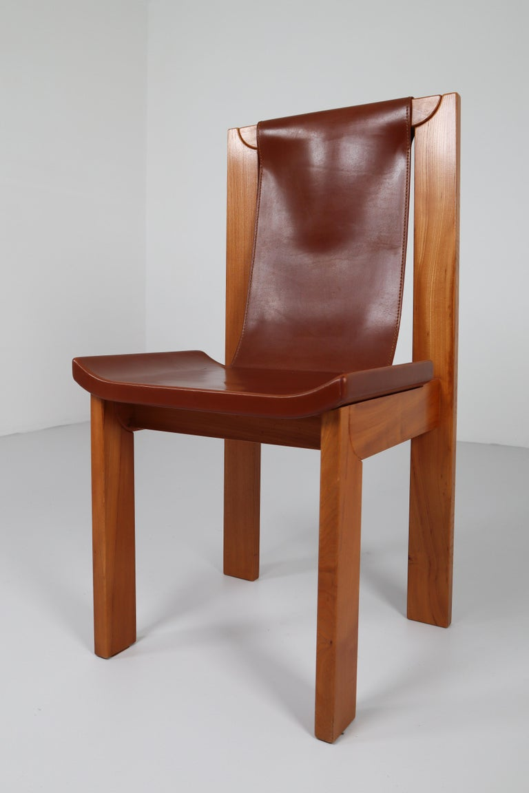 French Set of Four Cognac Leather Dining Chairs in Elmwood, France, 1960s For Sale