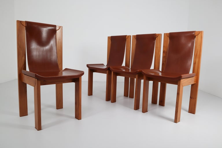 Set of Four Cognac Leather Dining Chairs in Elmwood, France, 1960s In Good Condition For Sale In Almelo, NL