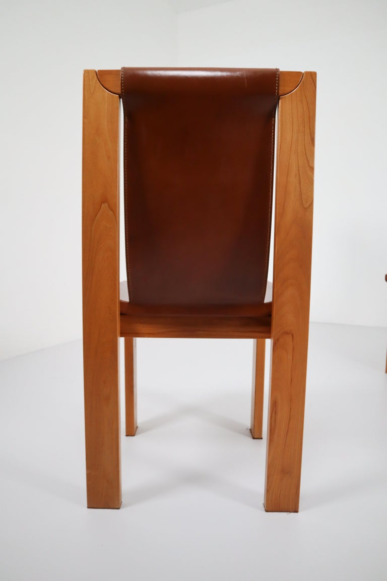 Set of Four Cognac Leather Dining Chairs in Elmwood, France, 1960s For Sale 1