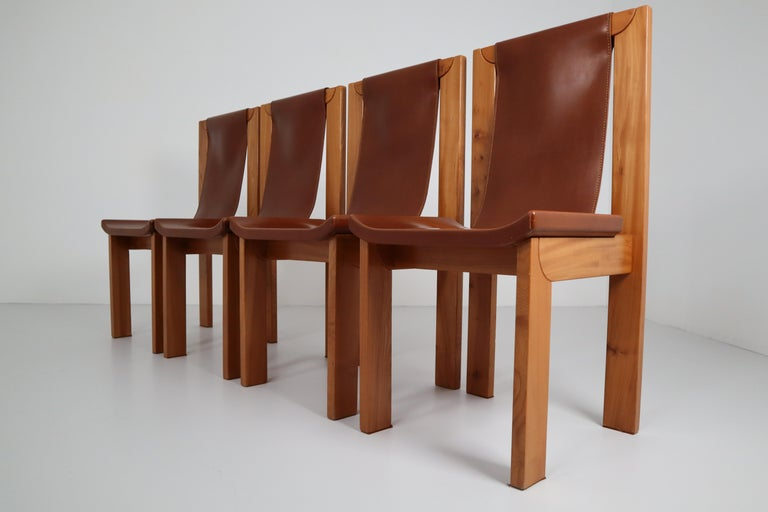 Set of Four Cognac Leather Dining Chairs in Elmwood, France, 1960s For Sale 2