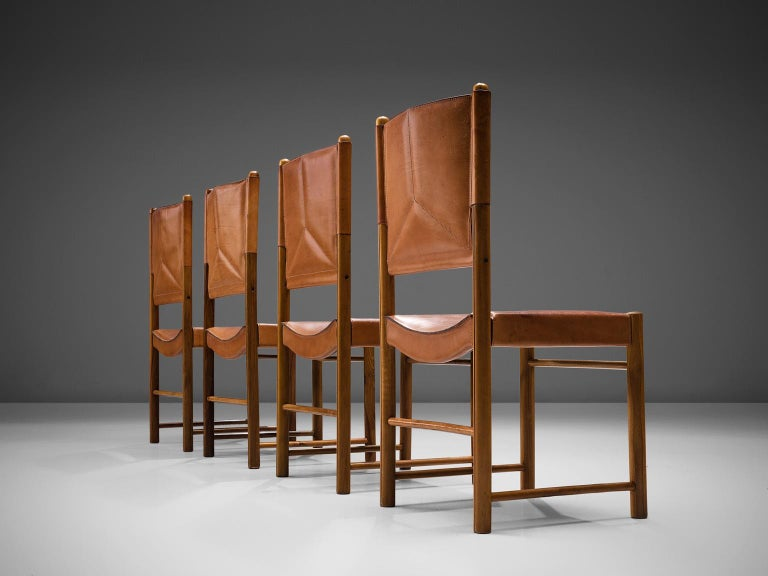 Mid-Century Modern Set of Four Cognac Leather Dining Chairs, Italy For Sale