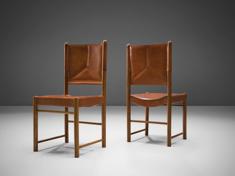 Italian Set of Four Cognac Leather Dining Chairs, Italy For Sale