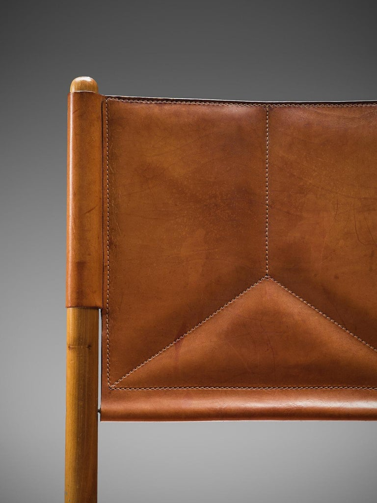Mid-20th Century Set of Four Cognac Leather Dining Chairs, Italy For Sale