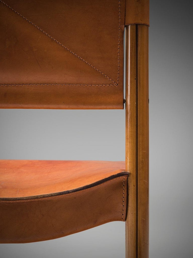 Set of Four Cognac Leather Dining Chairs, Italy For Sale 1