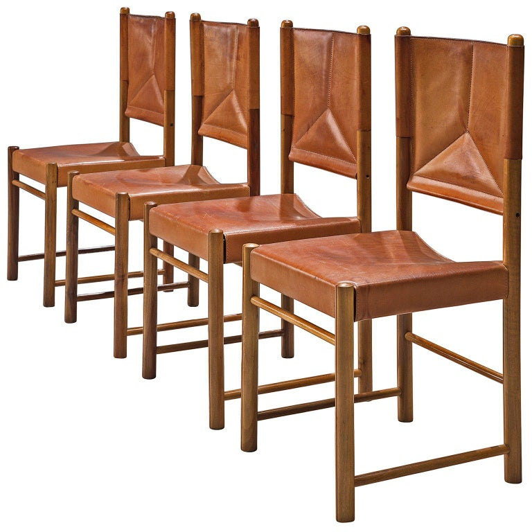 Set of Four Cognac Leather Dining Chairs, Italy For Sale