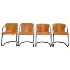 Set of Four Cognac Leather Dining Chairs, Willy Rizzo, 1970s