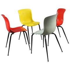 Set of Four Colorful Sonett Fiberglas Chairs Vienna, 1950