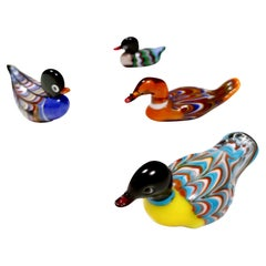 Set of Four Colorful Murano Glass Ducks, Italy, 1960s