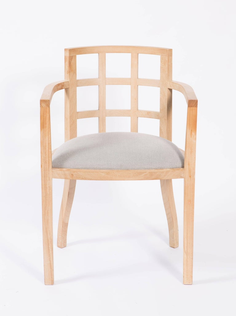 Belgian Set of Four Contemporary Armchairs in Bleached Wood For Sale