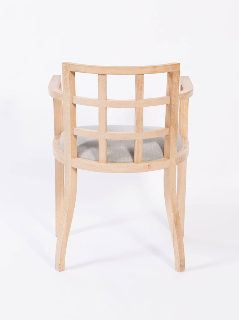 Set of Four Contemporary Armchairs in Bleached Wood For Sale 1