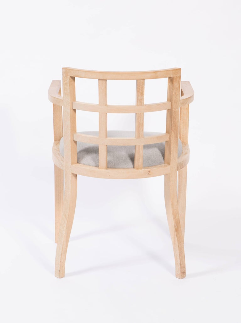 Set of Four Contemporary Armchairs in Bleached Wood For Sale 2
