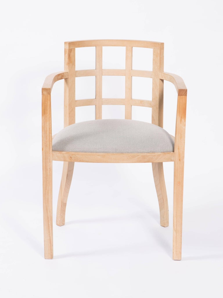 Set of Four Contemporary Armchairs in Bleached Wood For Sale 4