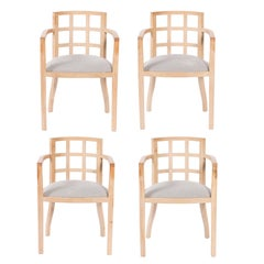 Set of Four Contemporary Armchairs in Bleached Wood