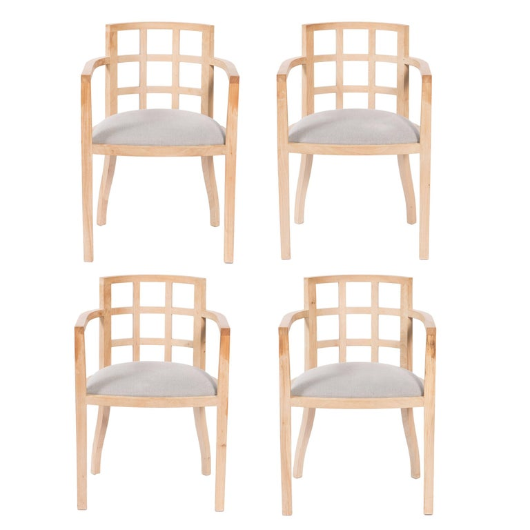 Set of Four Contemporary Armchairs in Bleached Wood For Sale