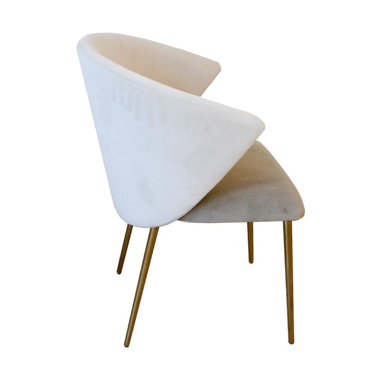 Brass Set of Four Contemporary Modern Cotton Velvet Italian Chairs For Sale