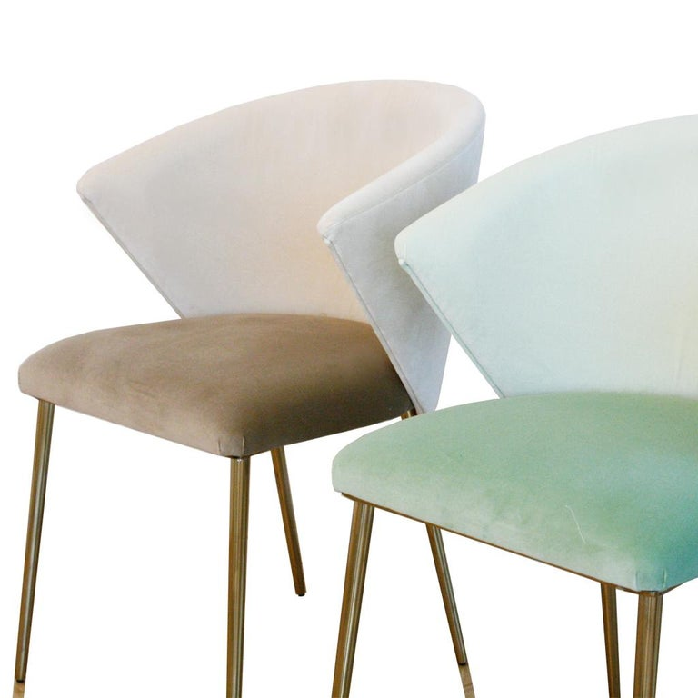 Set of Four Contemporary Modern Cotton Velvet Italian Chairs For Sale 4
