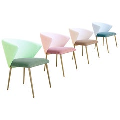 Set of Four Contemporary Modern Cotton Velvet Italian Chairs