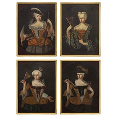 Set of Four Continental 18th Century Collection of Whimsical Paintings