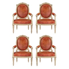 Set of Four Continental 19th Century Louis XVI Style Armchairs