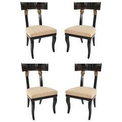 Set of Four Continental Austrian Ebonized Klismos Form Side Chairs