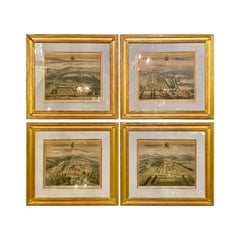 Set of Four Copperplate Engravings Inscribed and Finely Framed, Leonard Knyff