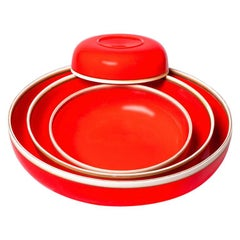 Set of Four Coral Red Glazed Porcelain Hermit Bowls with Rustic Rim
