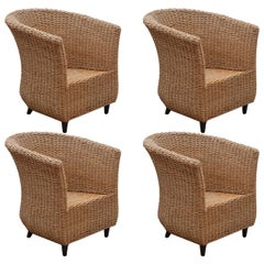Set of Four Cord Woven Bucket Lounge Chairs, 1980s, Italy