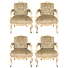 Set of Four Country French Louis XV Style 19th Century Patinated Armchairs