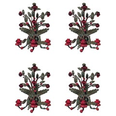 Set of Four Country Italian 19th Century Patinated Wrought Iron Sconces