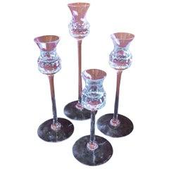 Set of Four Crystal Candlesticks by Goran Warff for Kosta Boda