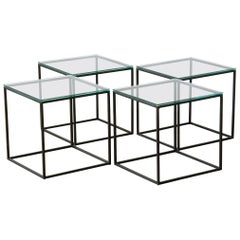 Set of Four Cube Coffee or Side Tables with Iron Frames and Glass Tops