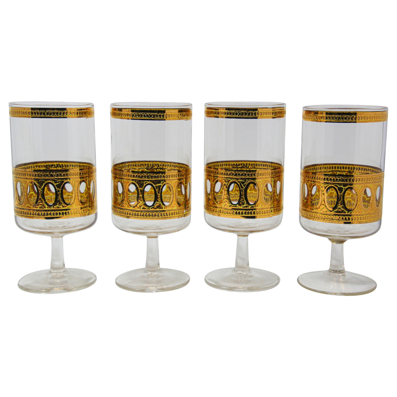 Set of Four Vintage Culver Cocktail Glasses with 22-Karat Gold Antigua Pattern