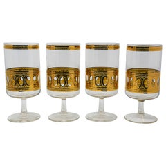 Set of Four Vintage Culver Cocktail Glasses with 22-Karat Gold Antigua Pattern