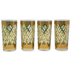 Set of Four Vintage Culver Highball Glasses with 22-Karat Gold Valencia Design