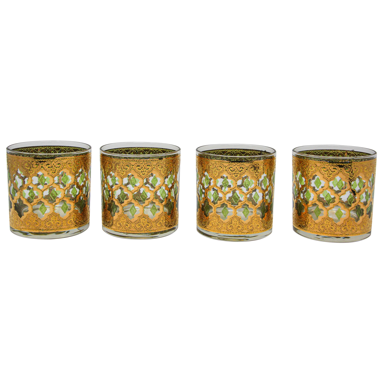 Set of Four Vintage Culver Lowball Glasses with 22-Karat Gold Valencia Design