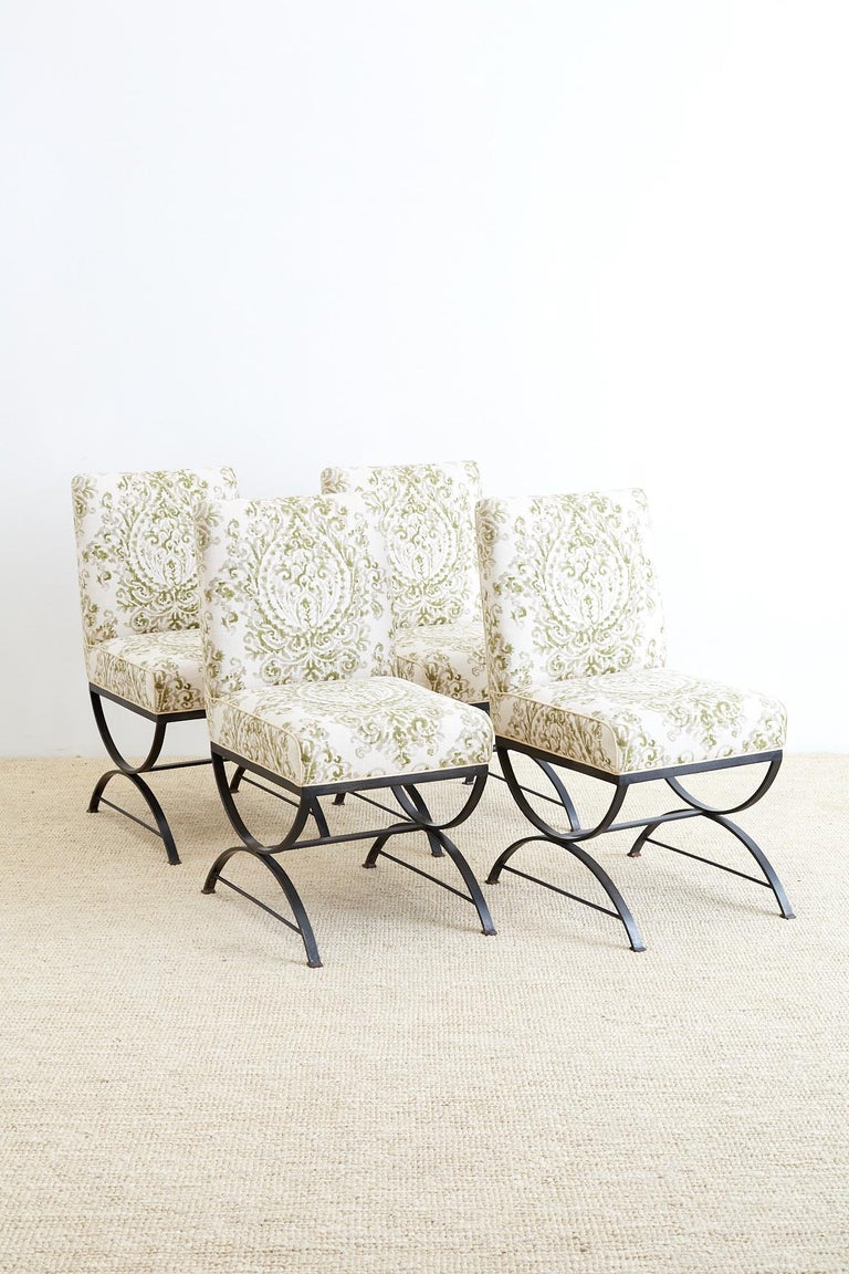 Neoclassical Set of Four Curule Base Wrought Iron Dining Chairs For Sale