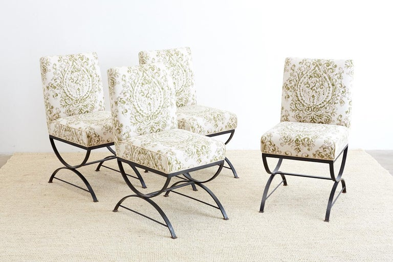 American Set of Four Curule Base Wrought Iron Dining Chairs For Sale
