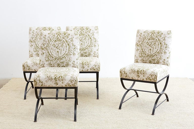 Set of Four Curule Base Wrought Iron Dining Chairs In Excellent Condition For Sale In Oakland, CA
