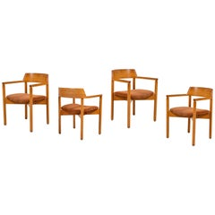 Set of Four Curved Back Dining Chairs with Suede Seats
